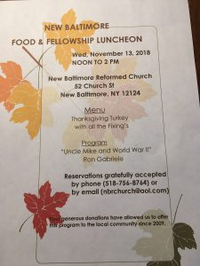 Food & Food Fellowship Luncheon @ New Baltimore Reformed Church